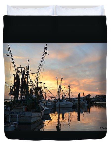 Marshallberg Harbor Sunset Duvet Cover