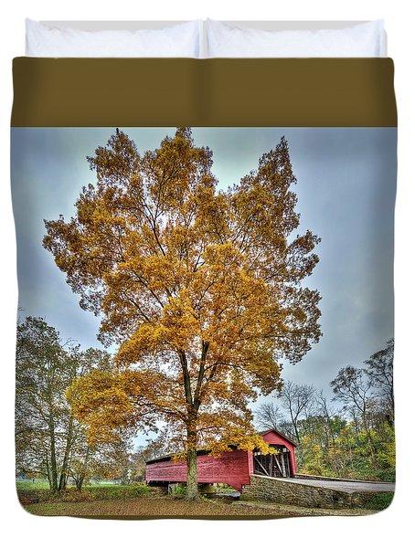 Maryland Covered Bridge In Autumn Duvet Cover