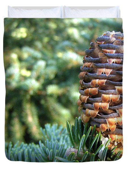 Duvet Cover featuring the photograph Masterful Construction - Spruce Cone by Angie Rea