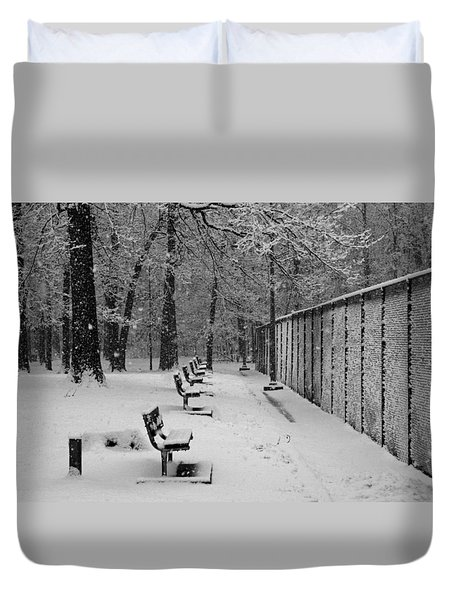 Match Called For Snow Duvet Cover by Andy Lawless