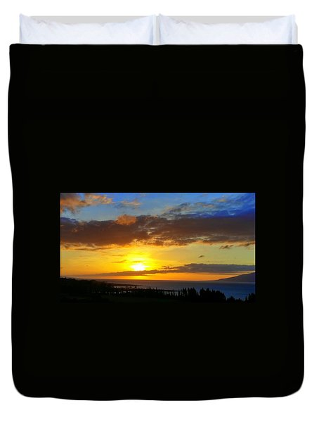 Maui Sunset At The Plantation House Duvet Cover