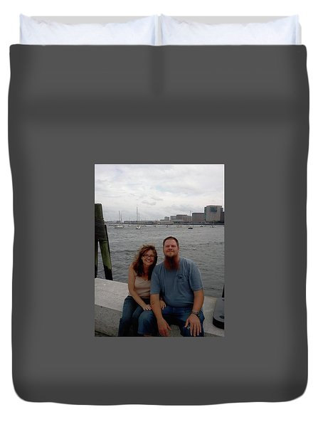 Duvet Cover featuring the photograph me by Richie Montgomery