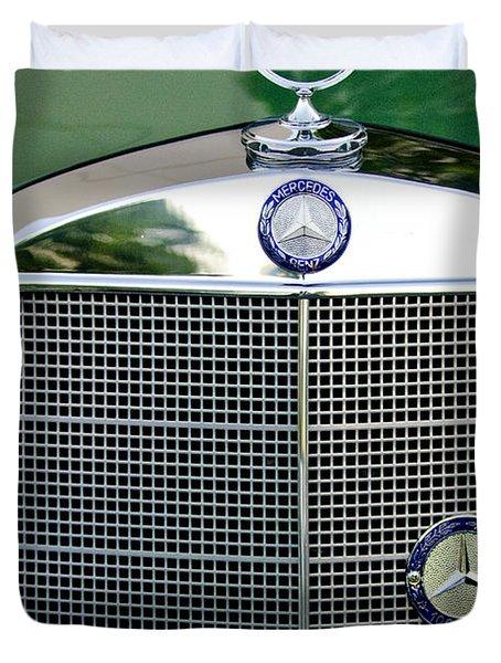 Mercedes Benz Hood Ornament Duvet Cover by Jill Reger