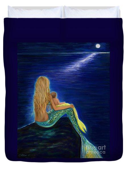 Duvet Cover featuring the painting Mermaids Sweet Babies Moon by Leslie Allen