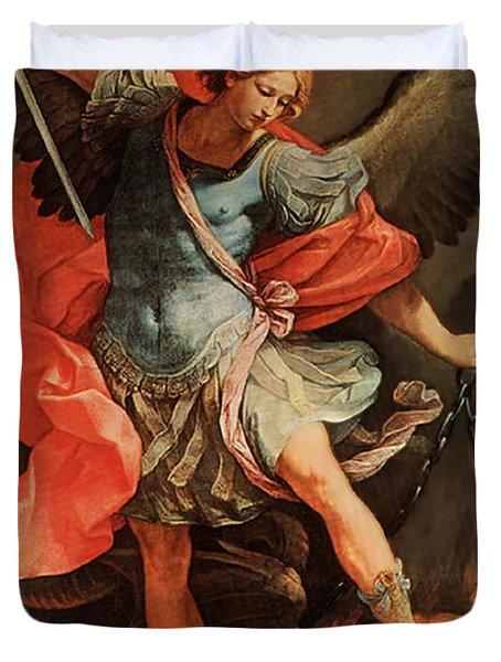 Michael Defeats Satan Duvet Cover