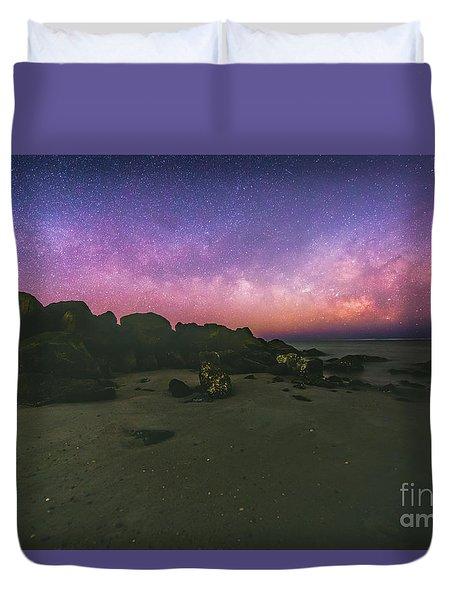 Milky Way Beach Duvet Cover