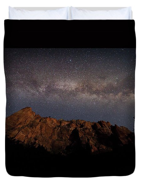 Milky Way Galaxy Over Zion Canyon Duvet Cover