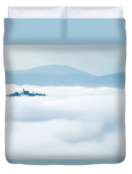 Duvet Cover featuring the photograph Mist Over Church Of Maria by Ian Middleton