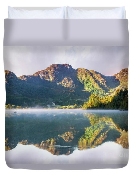 Misty Dawn Lake Duvet Cover