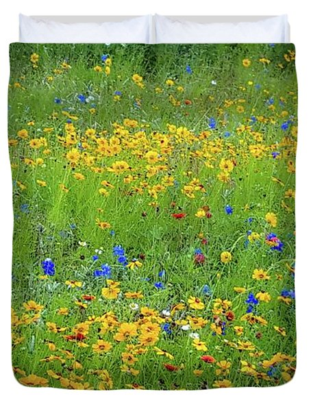 Mixed Wildflowers In Texas 538 Duvet Cover