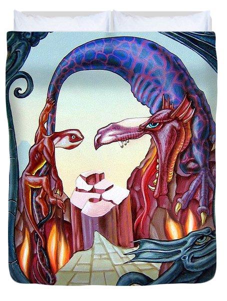 Mona Lisa. Fire Duvet Cover