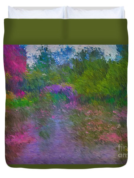 Duvet Cover featuring the mixed media Monet's Lily Pond by Jim  Hatch