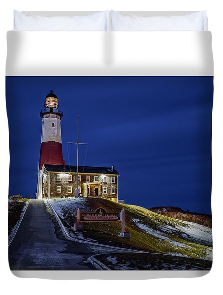 Duvet Cover featuring the photograph Montauk Point Lighthouse by Susan Candelario