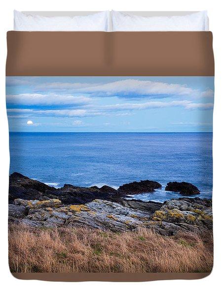Moon Rising Over Sea At Portlethen, Scotland Duvet Cover