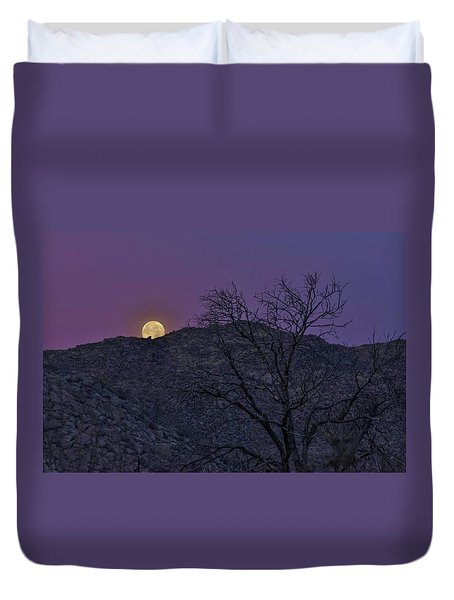 Moon Set At Sunrise Duvet Cover