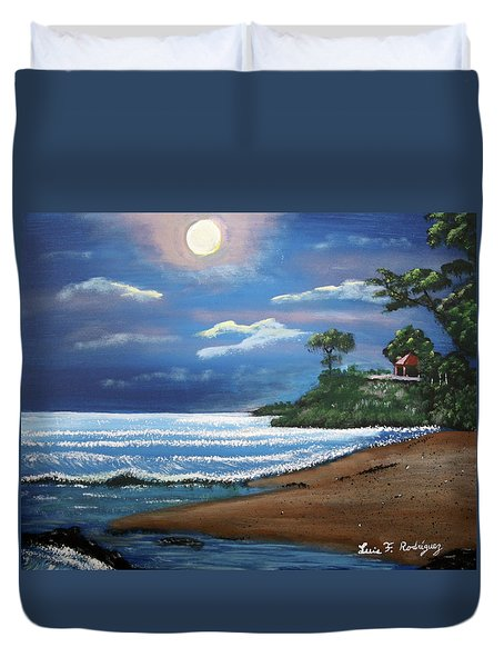 Moonlight In Rincon II Duvet Cover by Luis F Rodriguez