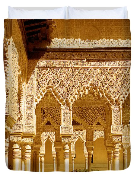 Moorish Architecture In The Nasrid Palaces At The Alhambra Granada Duvet Cover by Mal Bray
