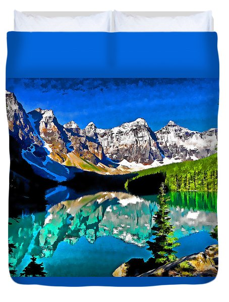 Moraine Lake Duvet Cover by Dennis Cox WorldViews