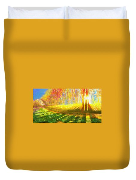Duvet Cover featuring the painting Morning by Hidden Mountain