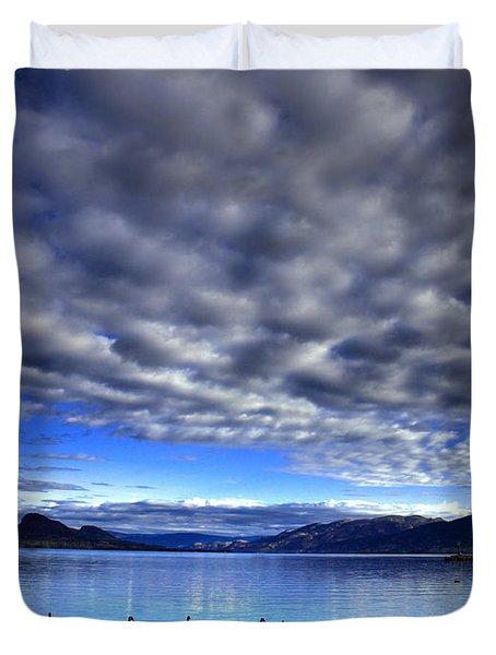 Morning Light On Okanagan Lake Duvet Cover by Tara Turner