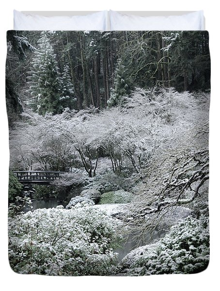 Morning Snow In The Garden Duvet Cover by Don Schwartz