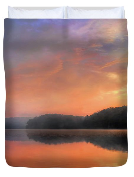 Duvet Cover featuring the photograph Morning Solitude by Darren Fisher