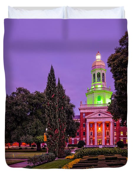 Morning Twilight Shot Of Pat Neff Hall From Founders Mall At Baylor University - Waco Central Texas Duvet Cover
