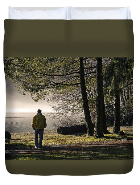 Duvet Cover featuring the photograph Morning Walk by Inge Riis McDonald