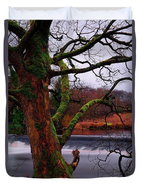 Mossy Tree Leaning Over The Smooth River Wharfe Duvet Cover