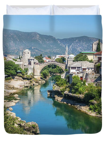 Mostar Skyline At Night Duvet Cover