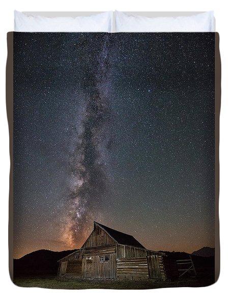 Moulton Ranch Cabin Milky Way On Mormon Row Duvet Cover