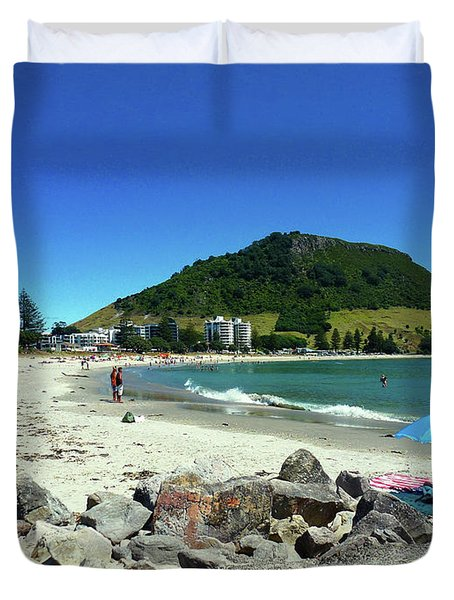 Mount Maunganui Beach 1 - Tauranga New Zealand Duvet Cover by Selena Boron