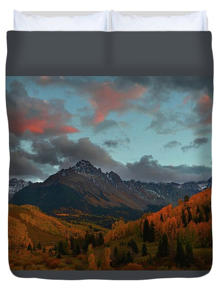 Mount Sneffels Sunset During Autumn In Colorado Duvet Cover by Jetson Nguyen