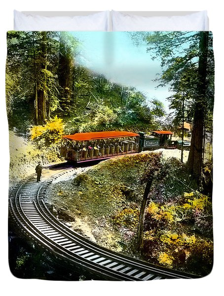Mount Tamalpais Railway In The 1890s California Duvet Cover
