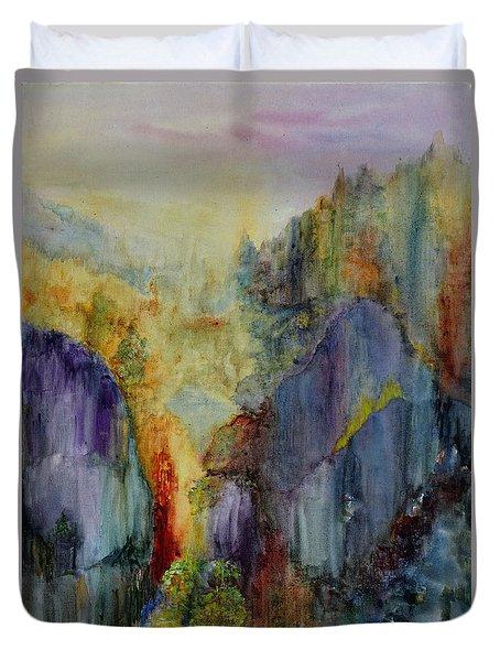 Mountain Scene Duvet Cover by Karen Fleschler