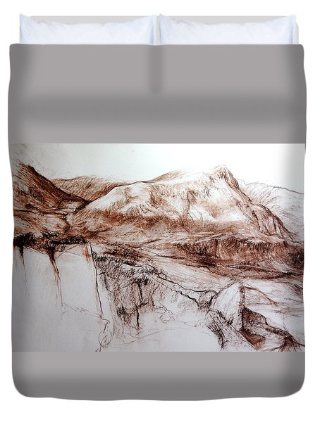 Duvet Cover featuring the drawing Mountains In Snowdonia by Harry Robertson