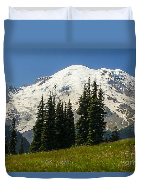 Mt. Rainier Alpine Meadow Duvet Cover