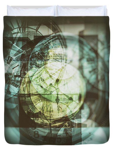 Duvet Cover featuring the photograph Multi Exposure Clock   by Ariadna De Raadt