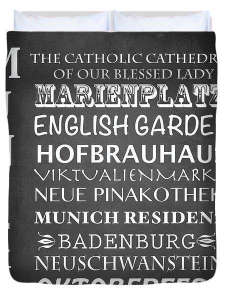 Munich Famous Landmarks Duvet Cover