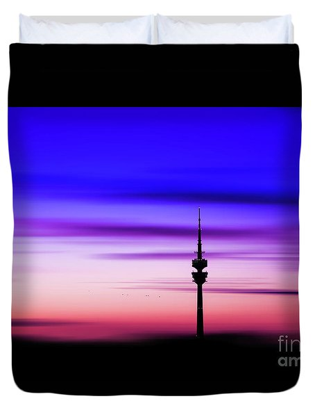 Duvet Cover featuring the photograph Munich - Olympiaturm At Sunset by Hannes Cmarits