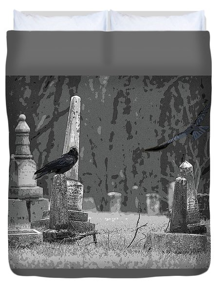 Duvet Cover featuring the photograph Murder Of Crows by Rowana Ray
