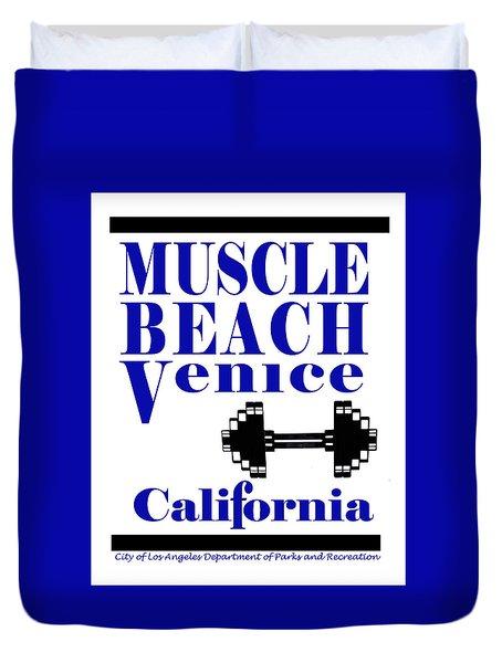 Duvet Cover featuring the photograph Muscle Beach Sign by Robert Hebert