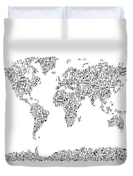 Music Notes Map Of The World Duvet Cover