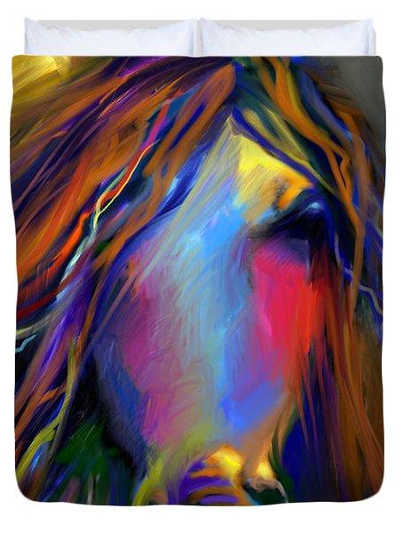 Mustang Horse Painting Duvet Cover by Svetlana Novikova