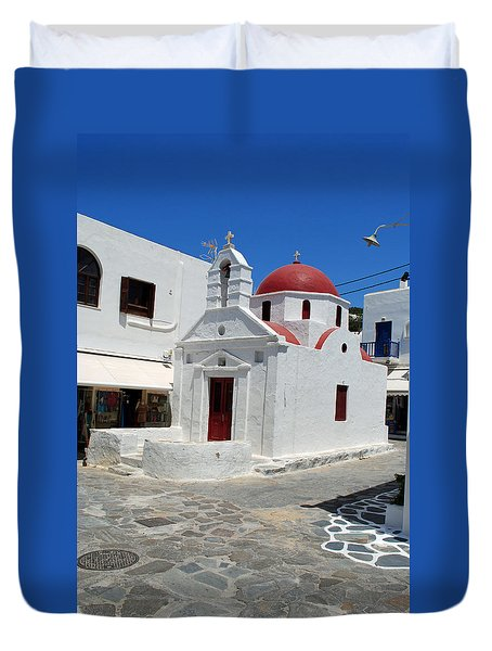 Duvet Cover featuring the photograph Mykonos Red Chapel by Robert Moss