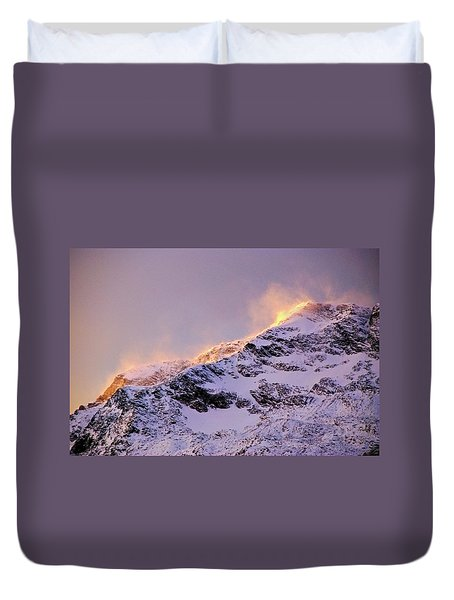 mystery mountains in North of Norway Duvet Cover