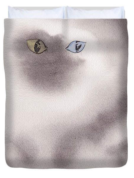 Duvet Cover featuring the painting Mysty Cat by Marc Philippe Joly