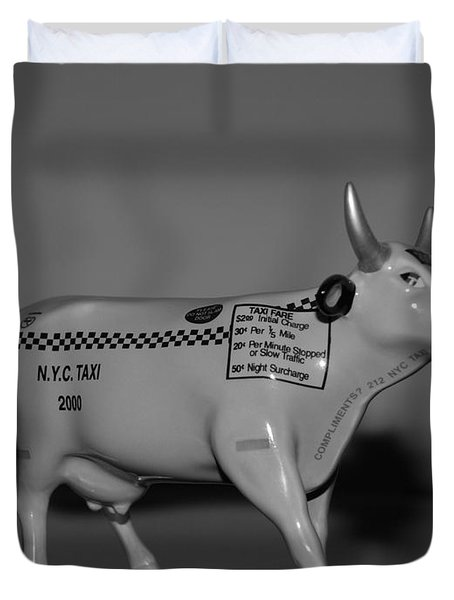 N Y C Taxi Cow Duvet Cover by Rob Hans