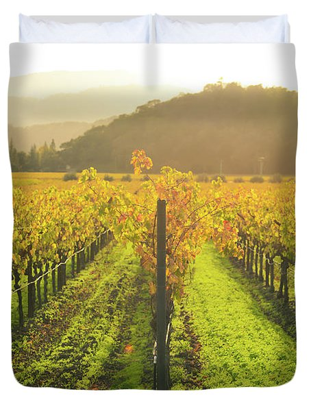 Napa Valley California Vineyard In The Fall Duvet Cover