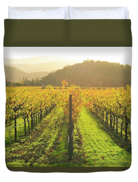 Napa Valley California Vineyard In The Fall Duvet Cover